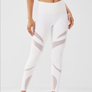 Fabletics High Waisted Mesh Powerhold White NWT